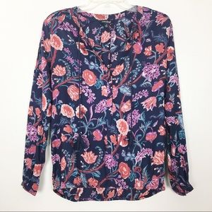 Lucky Brand Blue Tassel Tie Floral Print Blouse- S